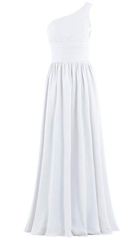 Delivery Bridesmaid Dress - ANTS Women's Pleat Chiffon One Shoulder Bridesmaid Dresses Long Evening Gown Size 14 US White