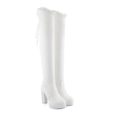 RTRY Zapatos De Mujer Polipiel Moda Invierno Botas Botas Chunky Talón Puntera Redonda Thigh-High Botas Para Vestimenta Casual Blanco Y Negro US4-4.5 / EU34 / UK2-2.5 / CN33