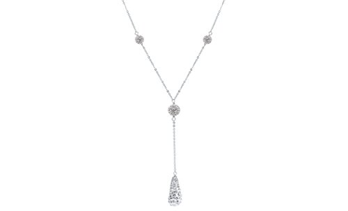16' Diamond Cut Cable Chain (Women Sterling Silver Spectacular Crystal Tear Drop Y Necklace. 16''+2'' Diamond Cut Cable Chain, Colors Available (Crystal))