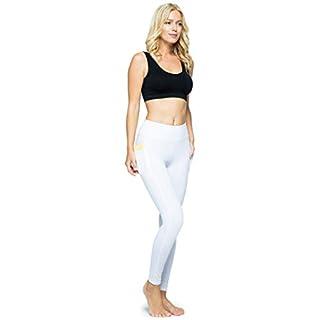OCOMMO Leggings with Pockets for Women, Tummy Control High Waisted Womens Yoga Leggings White