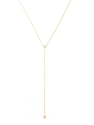 HONEYCAT Crystal Lariat Necklace in 24k Gold Plate | Minimalist, Delicate Jewelry ()