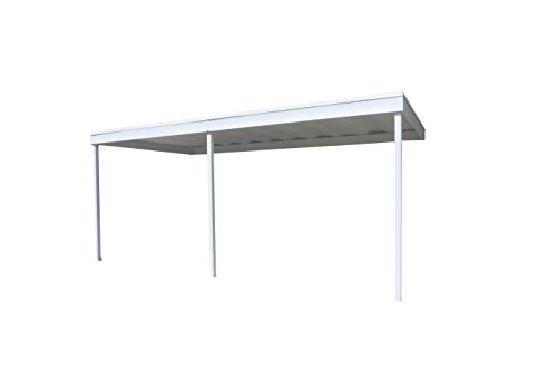 Attached Patio Cover/Carport 10x20 Galvanized Steel and Vinyl Coating Eggshell Finish,Flatroof by Arrow