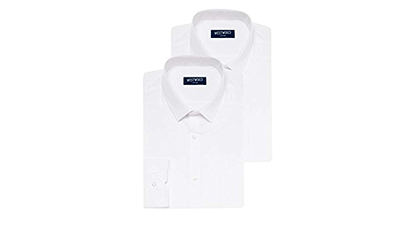 Camisa formal para hombre   Manga larga   Corte regular   Camisa blanca   Talla de cuello 14.5-19