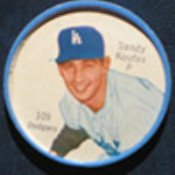 1962 salada tea coins (Baseball) Card# 109 Sandy Koufax of the Los Angeles Dodgers ExMt Condition
