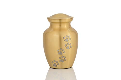 Enshrined Memorials Cremation Urn for Ashes - Cerberus Series Affordable Brass Handcrafted Pets Dogs Cats Funeral Burial Small 6 inch Paw Prints ()