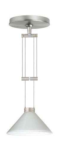 Besa Lighting 1XA-282453-SN 1X50W Gy6.35 Kona Pendant with White Starpoint Glass, Satin Nickel Finish