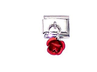 Red Rose Italian Charm Bracelet - Dangle Red Rose Italian Charm