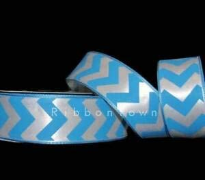 "5 Yards Blue White Chevron Stripe Zig Zag Satin Wired Ribbon 1 1//2/""W"