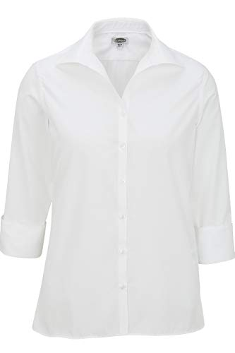 (Edwards Ladies' Lightweight Open Neck POPLIN Blouse 3/4 Sleeve 3XL)