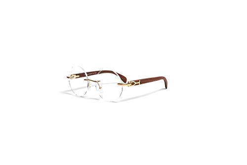 VINTAGE WOOD COLLECTION Wood Eyeglasses for Men Gold Frames, Genuine Brown Cherry Wood, Round Clear Rimless Lens, Rimless ()
