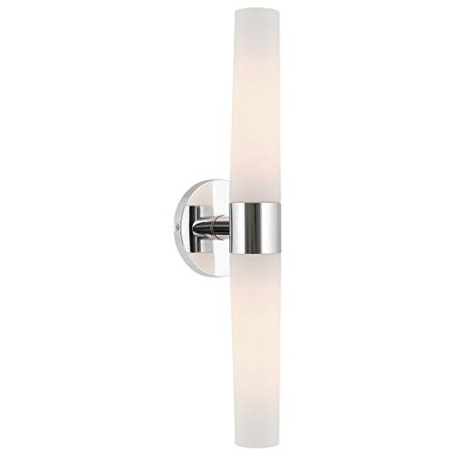 "Kira Home Duo 21"" Modern 2-Light Wall Sconce with Frosted Opal Glass Shades, for Bathroom/Vanity, Chrome Finish"