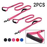 WINSIYA Reflective Dog Leash 6ft Long with Dog Collar Double Handles Heavy Duty for Medium Large Dogs (pinkdouble)