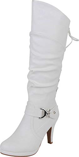 Top Moda Womens Page-65 Knee High Round Toe Lace-Up Slouched High Heel Boots (10, White)
