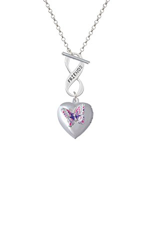 Silvertone Pink & Purple Butterfly Locket Friends Infinity Toggle Chain Necklace