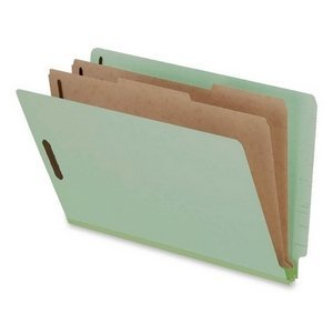 Pendaflex Pressboard End Tab Folders, Legal, 2 Dividers/6 Section, Pale Green, 10/Box 23324 by Pendaflex