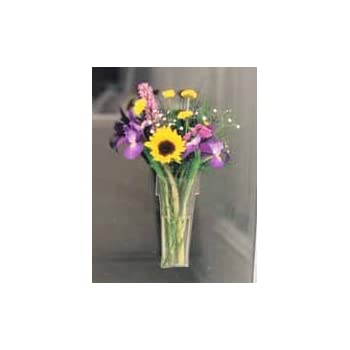 Gadjit VINYL Window Vase Shaped Like a Flower Pot -- Suctions to Windows and Mirrors, Holds Bouquet of Flower Stems and Water, Clear Flexible Vinyl