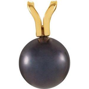 Jaune 14K 6mm Noir perle d'Akoya Pendentif