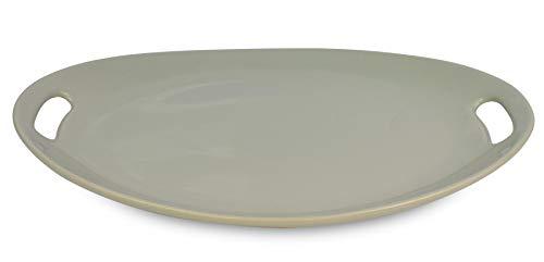 Le Regalo HW1238 Stoneware Oval, Microwave Oven, Dishwasher Safe, Food Platter, Kitchen Serveware, 13.50