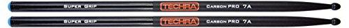 Techra CPSG-7A Carbon Pro Super Grip Series Drum Sticks - Carbon Fiber 7A -