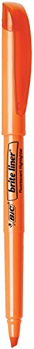 BIC Products - BIC - Brite Liner Highlighter, Chisel Tip, Fluorescent Orange Ink, 12 per Pack - Sold As 1 Dozen - Super-bright fluorescent inks. - Chisel tip for broad ()