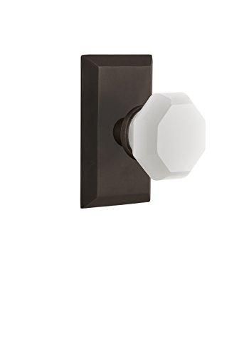 Nostalgic Warehouse 748260 Studio Plate Waldorf White Milk Glass Knob, Passage-Backset Size: 2.375