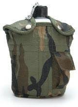 A. Blöchel Estilo ejército EEUU Exterior Cantimplora de Aluminio con jarro y Funda de Tela 1 litro Botella hidratante Bosque