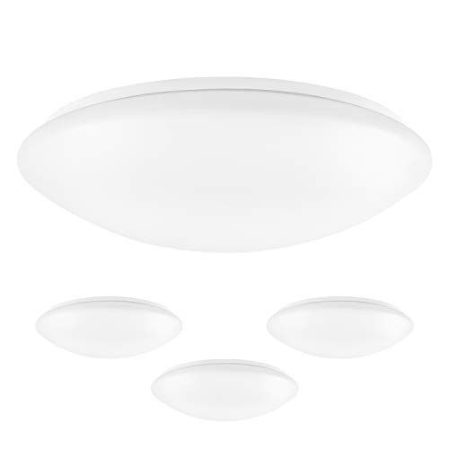 Luxrite 15 Inch LED Flush Mount Ceiling Light, 22W, 1600 Lumens, 4000K Cool White Dimmable, Modern Ceiling Light Fixture, Energy Star & UL Listed, Damp Location Rated (4-Pack)