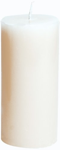 Entertaining with Caspari 6-Inch Round Pillar Dripless, Smokeless, Unscented Candle, (White Palm Wax Pillar)
