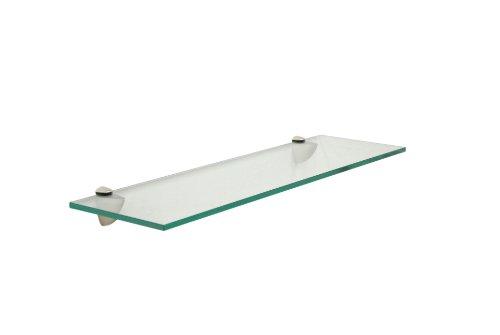 - Floating Glass Bathroom Shelf Finish: Brushed Steel, Size: 18
