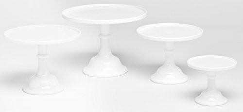 Plain & Simple Bakery Cake Plate Stand Set of Four - Mosser Glass (Milk Glass)
