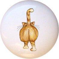Ceramic Knob - Cat Bum - Cats