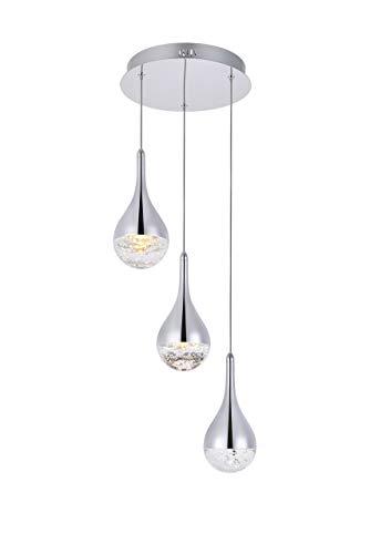 Elegant Lighting Amherst Collection LED 3-Light Chandelier 12in x 9in Chrome Finish