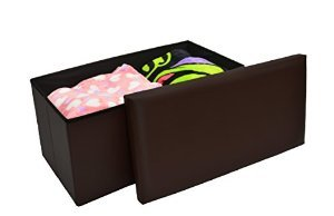 JANE VICTORIA - Storage Ottoman, Brown - Faux Leather, Folding Space Saver 30