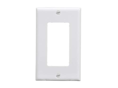 - Monoprice 1-Gang Dcor Wall Plate - White for Home,Office, Personal Install
