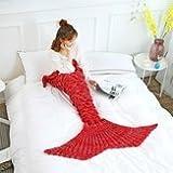 Hindquarters Cover - Mermaid Tail Blanket Yarn Knitted Handmade Crochet Kid Throw Bed Wrap Soft Sleeping - Bun Buttock Assembly Prat Backside Encompassing Poop Rear Tooshie Tush - 1PCs