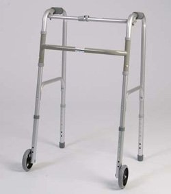 Folding Walker - This medical geriatric walker with wheels has a single button to fold. Weight capacity 250 pounds. This functional lightweight aluminum walker is adjustable in 1'' increments. by King Of Canes