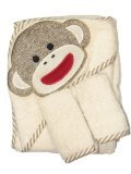 Sock Monkey Hooded Towel and 2 Washcloth Set by Baby Starters - Off-White - ()