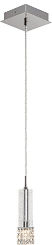 Elan 83001 Adega Mini Pendant, 1-Light, Chrome Finish with K9 Bubble Clear Beads Crystal