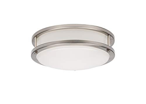 OSTWIN 14-inch Medium size LED Ceiling Light Fixture Flush Mount, Dimmable, Round 24Watt(150W Repl)5000K Daylight, 1680Lm, Brushed Nickel Finish with Acrylic shade, ETL and ENERGY STAR listed ()