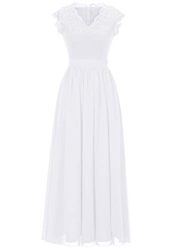 Dressystar 0050 V Neck Sleeveless Lace Bridesmaid Dress Wedding Party Gown L White