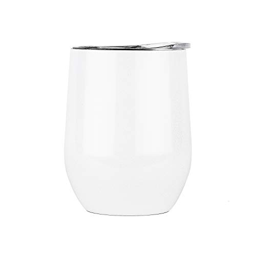 DOKIO 12 oz Pearl white Insulated Wine Glasses Sippy Cup Tumbler Stemless Stainless Steel Double Wall Vacuum Insulated With Lid Ice Hot Drink Coffee Champagne Cocktail Mug For Home ()