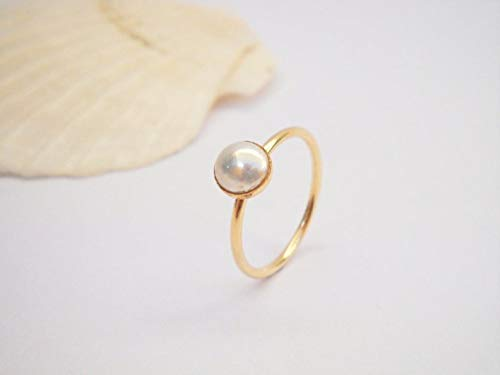 (Dainty Gold Filled Pearl Ring for Women, Thin Alternative Engagement Ring, Delicate Handmade Designer Boho Jewelry Birthday and Bridesmaids Gift )