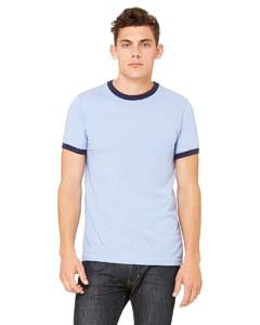 Bella 3055 Mens Jersey Short Sleeve Ringer Tee - Heather Blue & Navy, Large