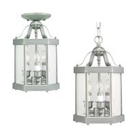 Sea Gull Lighting 5213-962 3-Light Camden Hall Collection Hall and Foyer Fixture, Clear Beveled Glass and Brushed Nickel