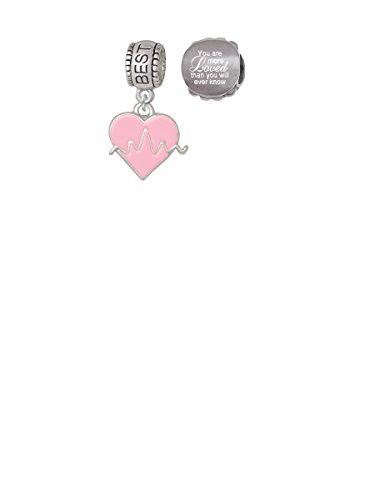 Heartbeat on Pink Heart Best Friend Charm Bead with You Are More Loved Bead (Set of 2)