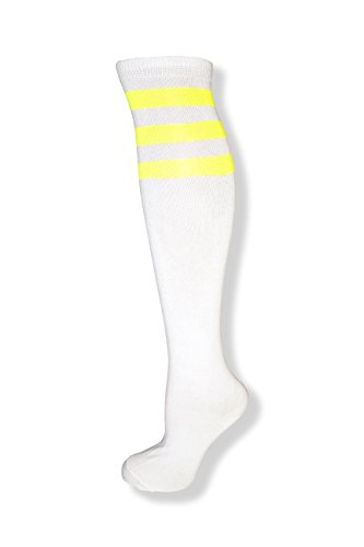 Unisex White Knee High Team Tube Socks w/Three Various Colored Stripes (White w/Neon -