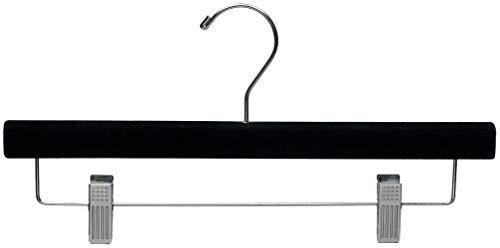 (The Great American Hanger Company Black Velvet Pant Hanger w/Adjustable Cushion Clips, Box of 25 Flat Wood Bottom Hangers w/Chrome Swivel Hook for Jeans Slacks or Skirt)