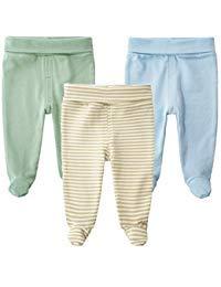 SYCLZ Baby 3-Pack 100% Cotton High Waist Footed Pants Casual Leggings 0-12M (0-3M, B) by SYCLZ