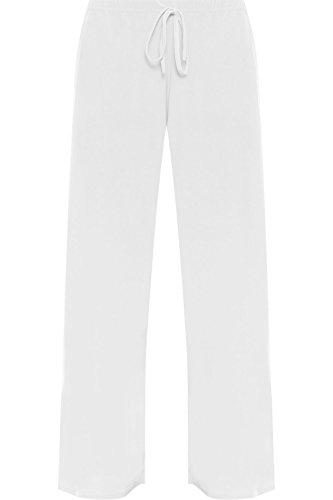 WearAll Women's Plus Size Palazzo Trousers Ladies Baggy Flared Wide Leg Pants - White - US 16 (UK 20)