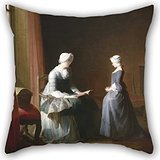 (Artistdecor 16 X 16 Inches / 40 By 40 Cm Oil Painting Chardin, Jean-Siméon - The Good Education Cushion Covers,two Sides Is Fit For Monther,birthday,chair,bench,living Room,kids)
